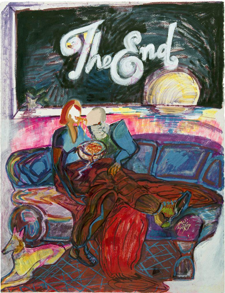 The End - Efrat Rubinstein, 2019, אקריליק פסטל ומרקרים על נייר, 85x68.5