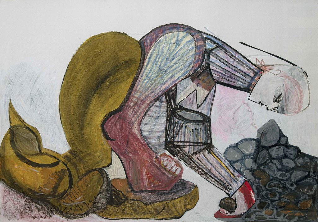 The Stone Breaker - Efrat Rubinstein, 2019, אקריליק על נייר, 78x108